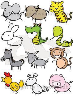 236x314 Cute Chinese Zodiac Animals By ~officemonkeyking