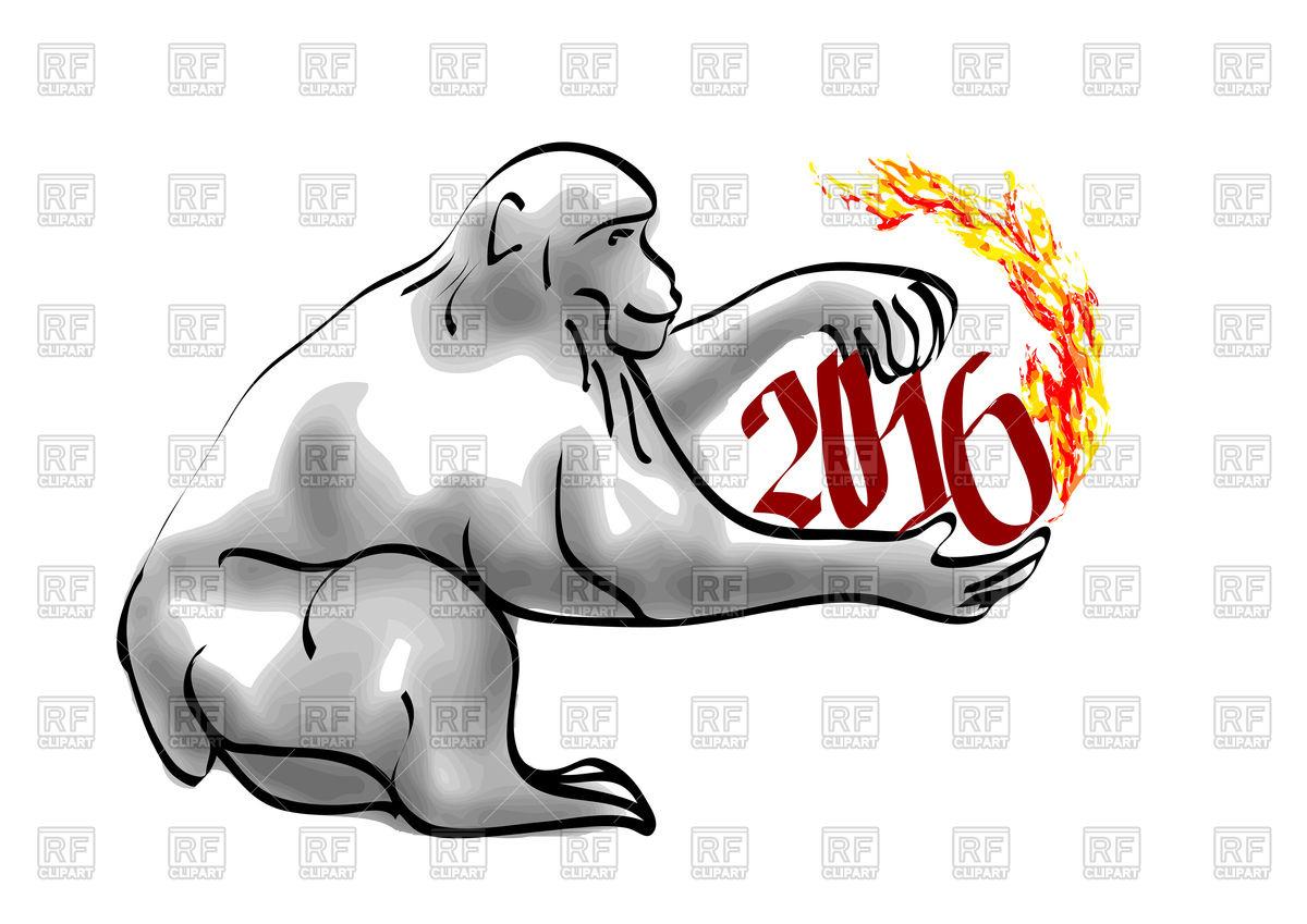1200x849 Monkey Year 2016 Royalty Free Vector Clip Art Image