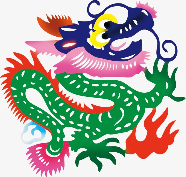 650x619 Chinese Lunar New Year Paper Cut Dragon Wind, Chinese Style