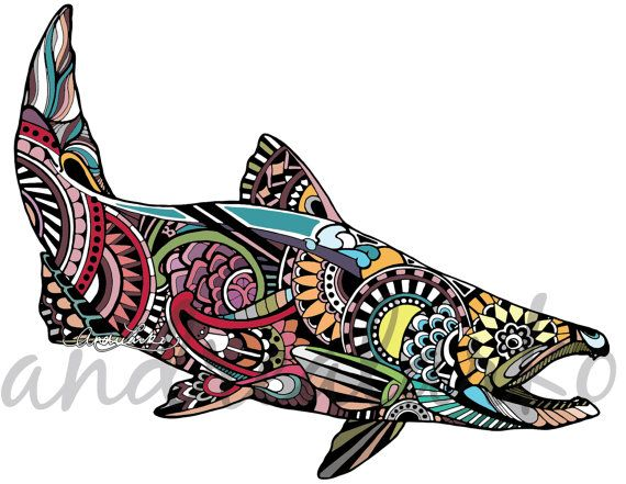570x441 King Salmon Zentangle Laminated 3m Vinyl Decal Salmon, Tattoo
