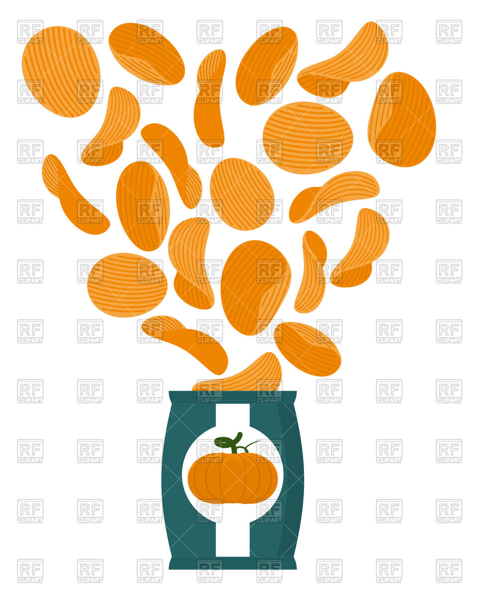 967x1200 Pumpkin Chips. Packaging Of Snacks. Royalty Free Vector Clip Art