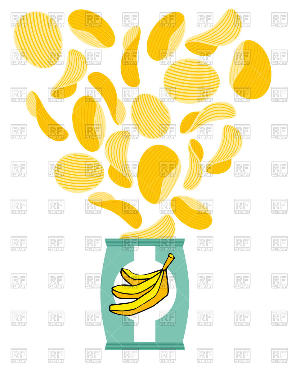 967x1200 Banana Chips Royalty Free Vector Clip Art Image