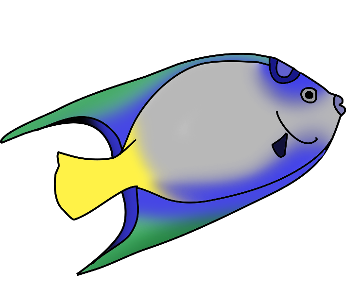 741x591 Startling Clip Art Fish Blue Green Goldfish Clipart Black