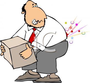 350x321 Cartoon Of A Man Injuring His Back Lifting A Box The Wrong Way