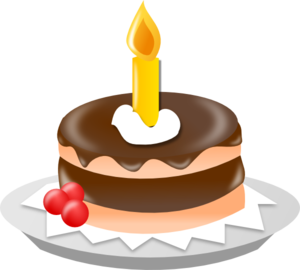 300x270 Chocolate Cake With One Candle Clip Art