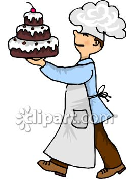 263x350 A Chef Carrying A Three Tiered Chocolate Cake