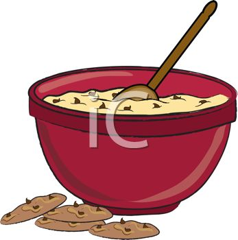 347x350 Picture Of A Bowl Of Chocolate Chip Cookie Dough With A Spoon