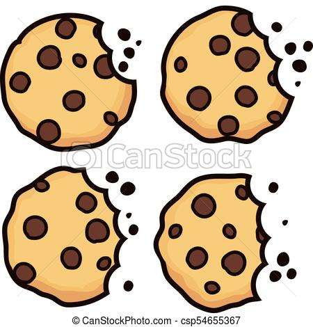 450x470 Vector Set Of Chocolate Chip Bitten Cookies Isolated On White