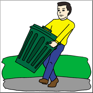 304x304 Clip Art Kids Chores Taking Out The Trash Color I