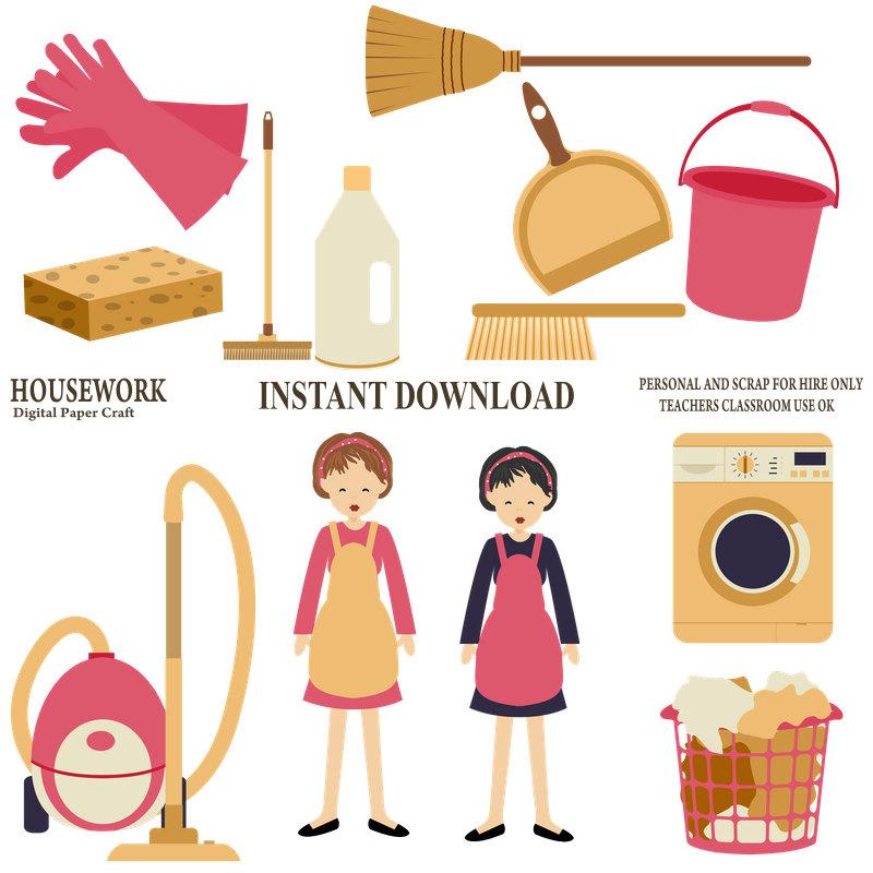 800x800 Housework Clipart, Cleaning Clipart, Organiser Clipart,chores