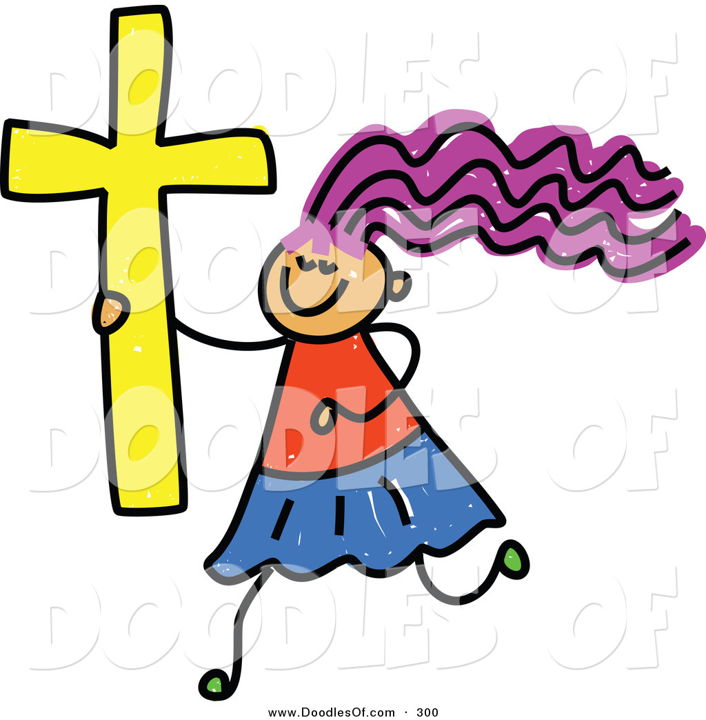 1024x1044 Vector Clipart Of A Childs Sketch Of A Happy Christian Girl By
