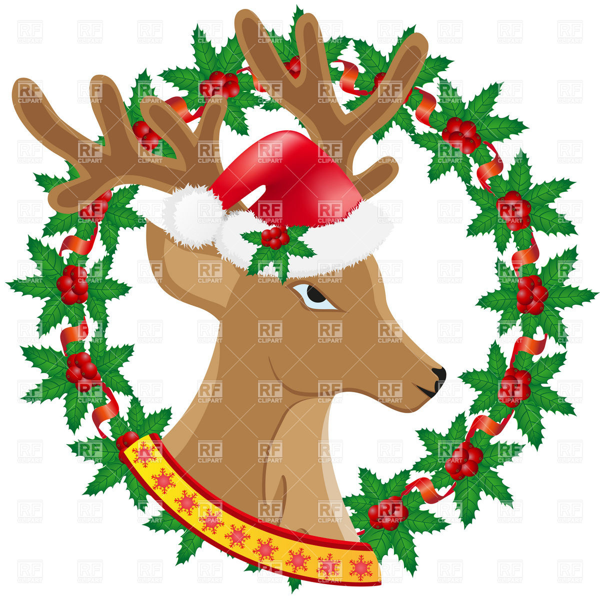 1200x1195 Christmas Deer And Wreath Of Holly Berries Royalty Free Vector