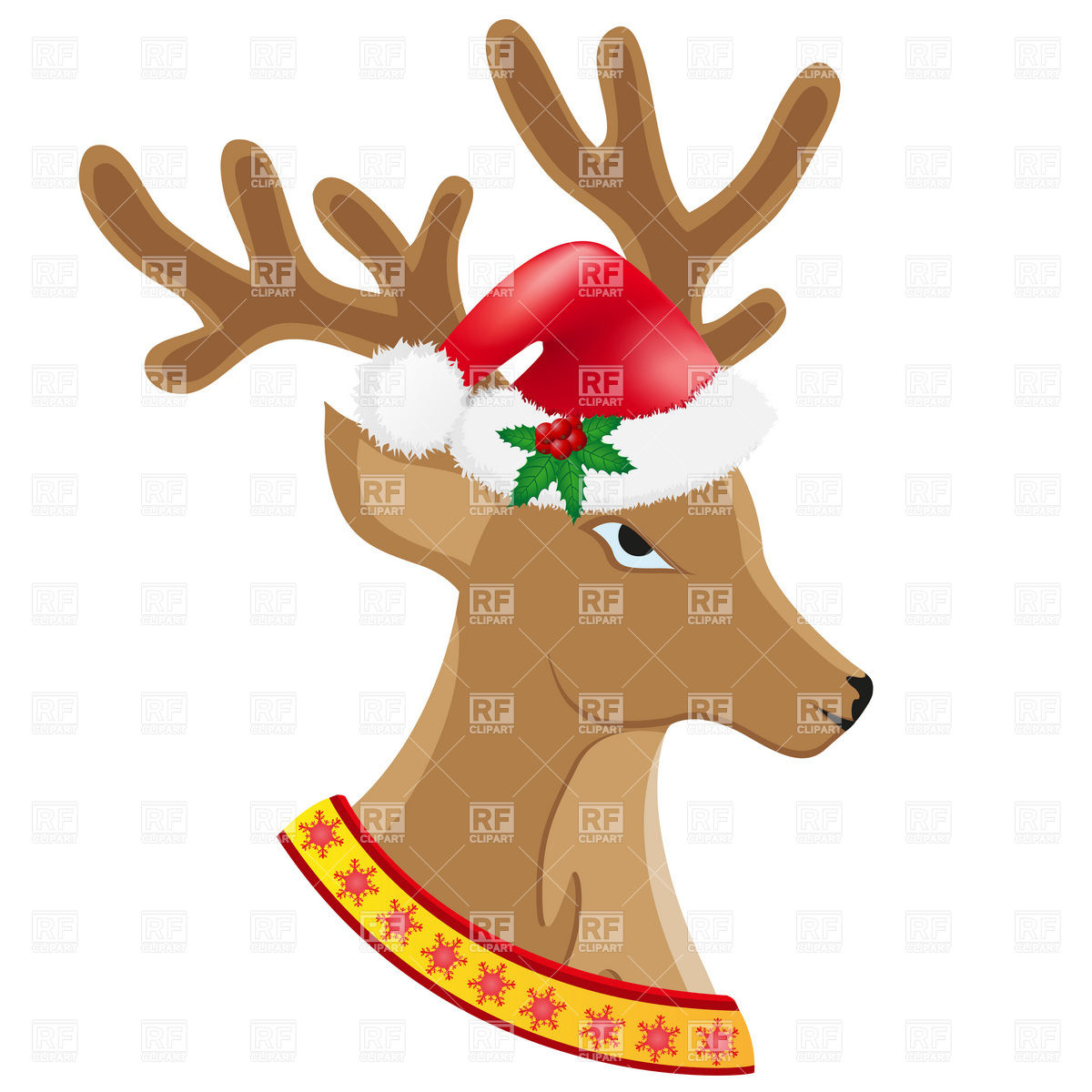 1200x1200 Christmas Deer In Santa's Hat Royalty Free Vector Clip Art Image