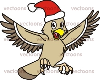 320x257 Joyful Eagle Christmas Illustration