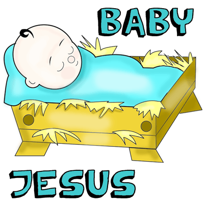 400x400 How To Draw Cartoon Baby Jesus In A Manger Cradle Drawing