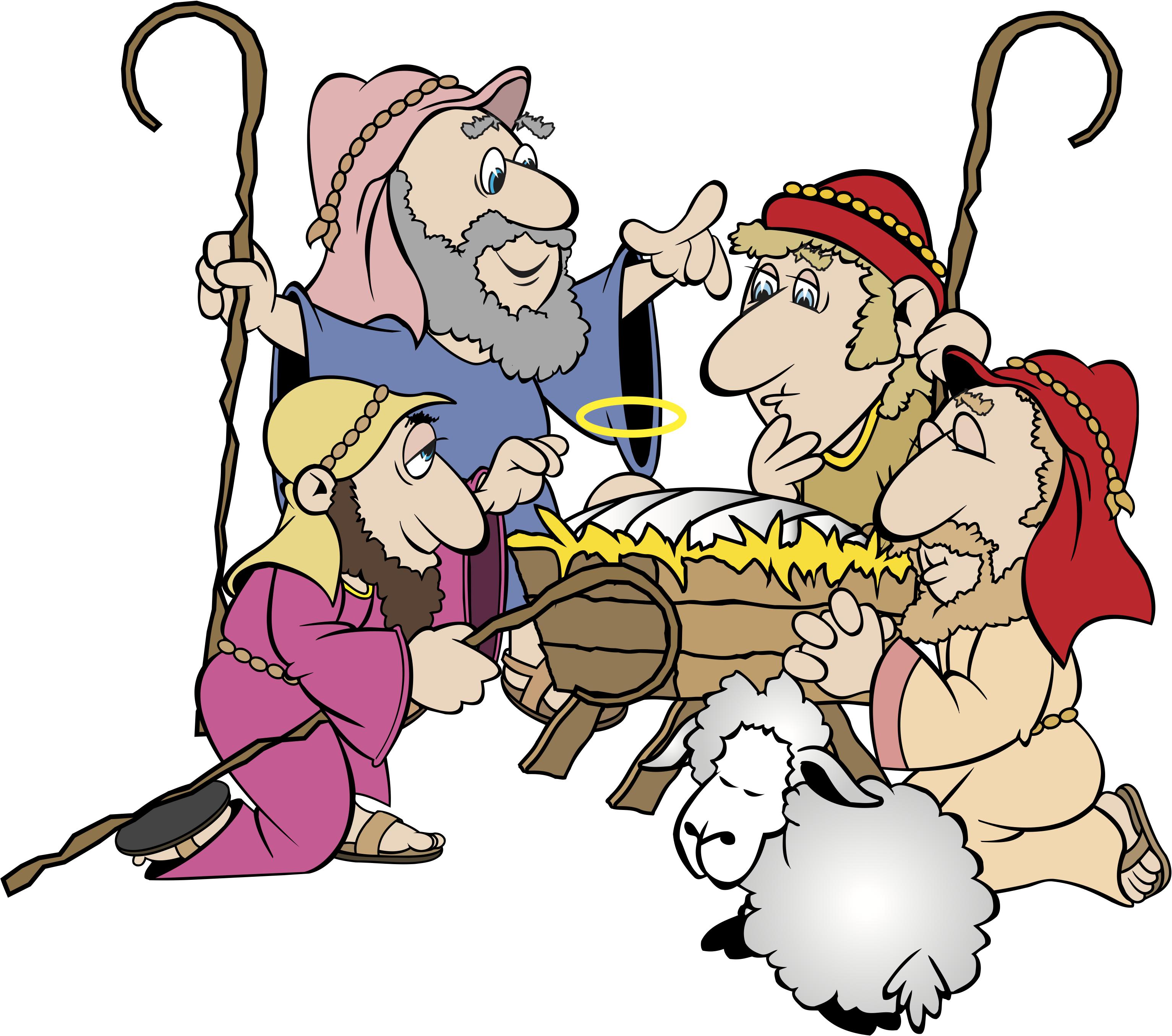 3067x2713 Shepherds Traveling To Jesus Christmas Clipart
