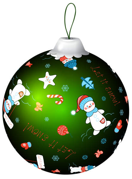 442x600 Green Christmas Ball With Snowman Png Clip Art Image Natal