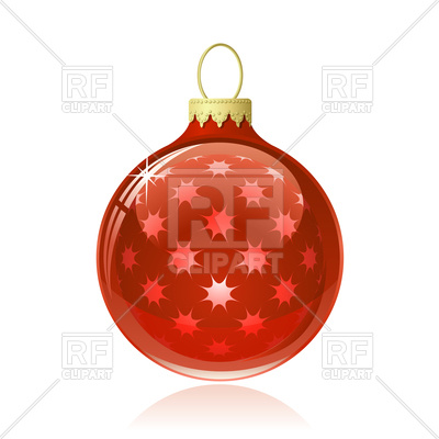 400x400 Red Christmas Ball. Christmas Bauble With Star Shapes