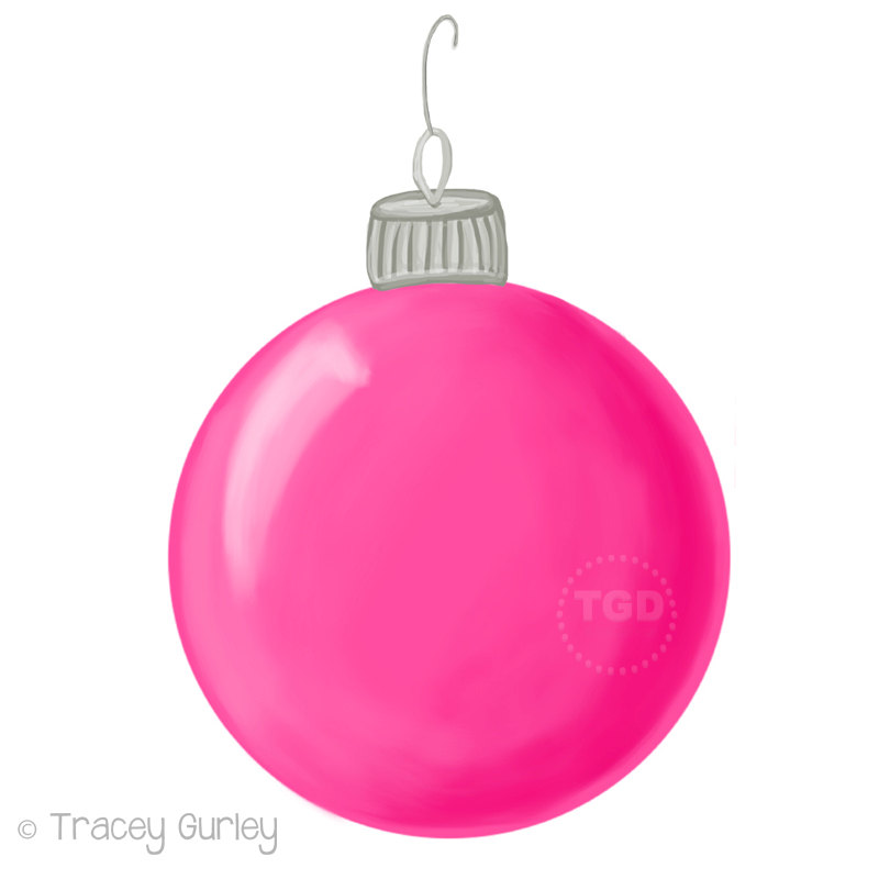 800x800 Pink Christmas Ornament Clip Art Hand Painted