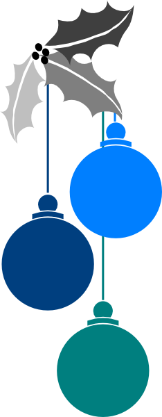 234x600 Blue Christmas Balls Clipart Collection