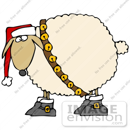 450x450 Clip Art Graphic Of A Festive Christmas Sheep With Jingle Bells