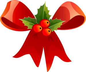 299x249 Christmas Bow With Holly Clip Art