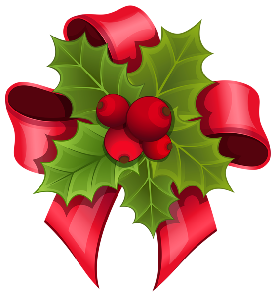 559x600 Mistletoe With Red Bow Png Clipart Image Christmas 2