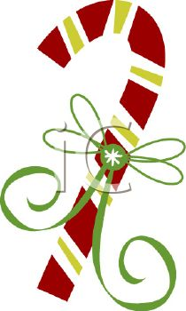 210x350 Picture Of A Candy Cane With A Green Bow In A Vector Clip Art