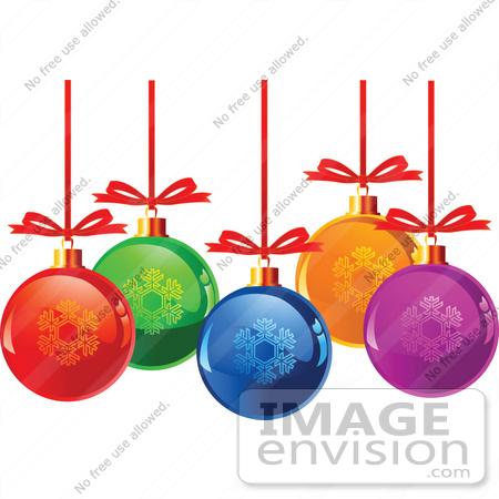 450x450 Clip Art Illustration Of Colorful Glass Snowflake Xmas Balls