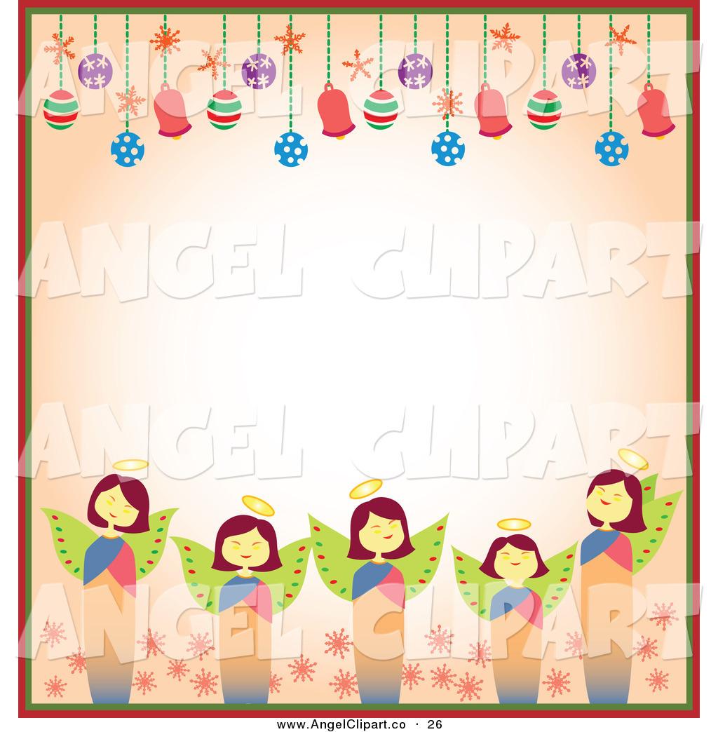 1024x1044 Clip Art Of A Border Of Christmas Angels And Christmas Bulbs