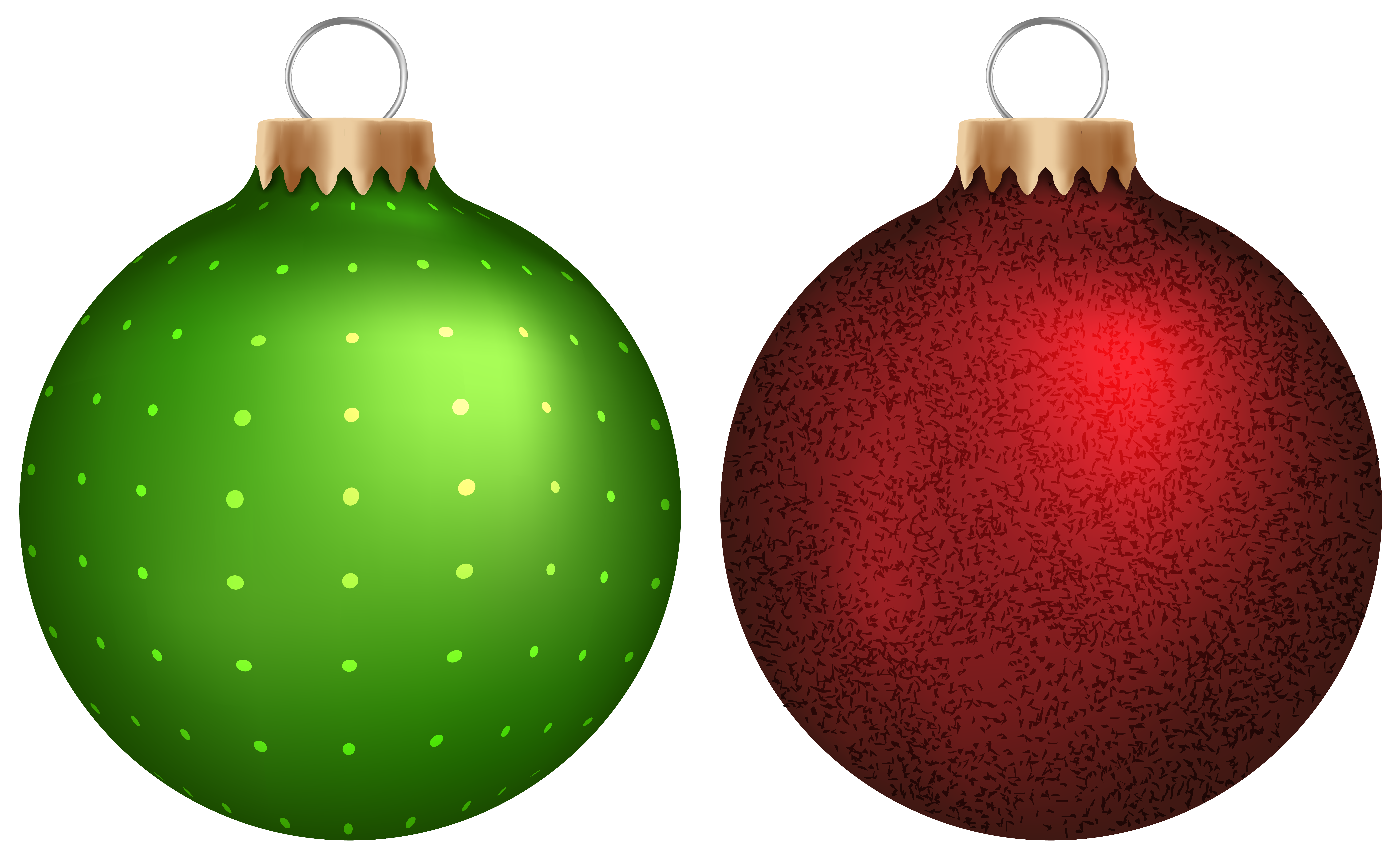 8754x5387 Green And Red Christmas Balls Png Clip Art