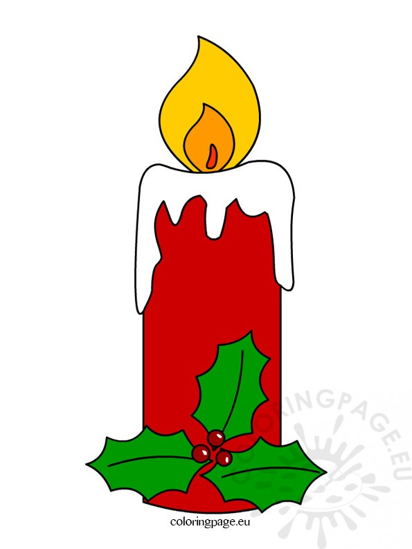 595x793 Christmas Candle Clipart Coloring Page