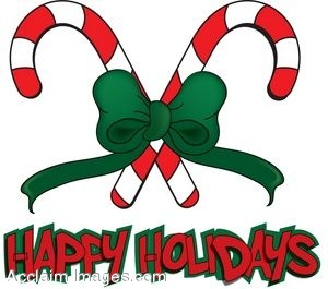 300x265 Clip Art Of Candy Canes With Happy Holidays Text