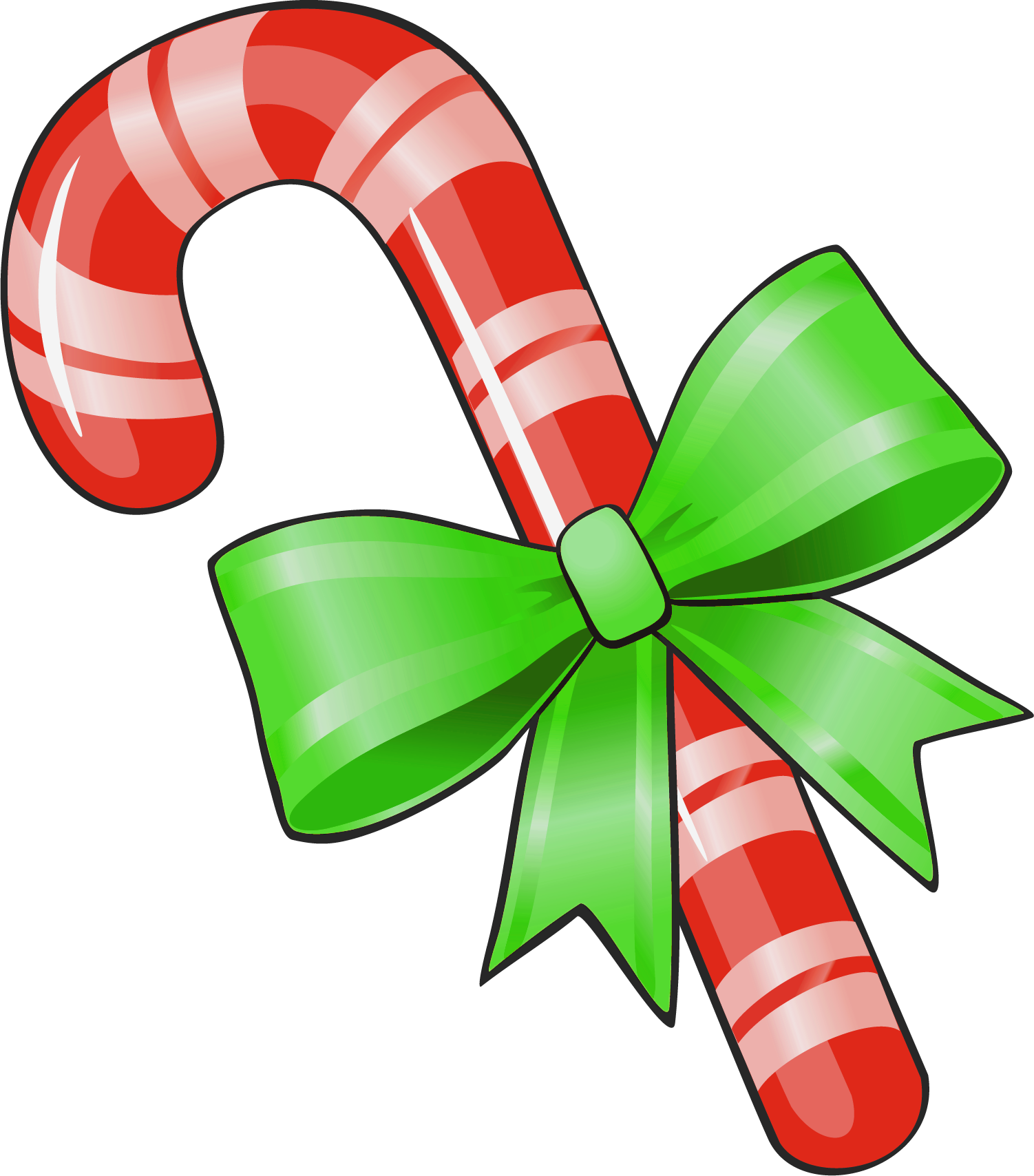 1502x1708 Transparent Christmas Candy Cane With Green Bow Png Clipart
