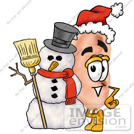 450x450 Clip Art Graphic Of A Human Ear Cartoon Character With A Snowman