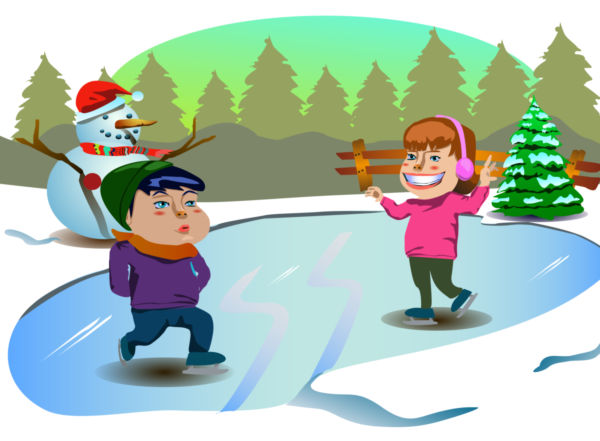 600x441 Ice Skating Kids Christmas Clip Art