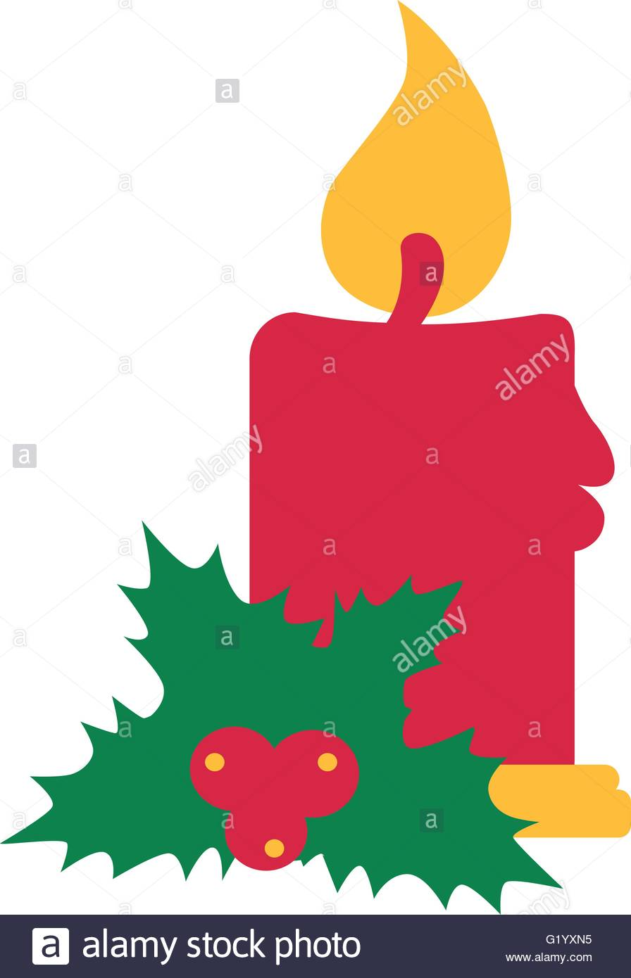 896x1390 Christmas Candle With Mistletoe Stock Vector Art Amp Illustration