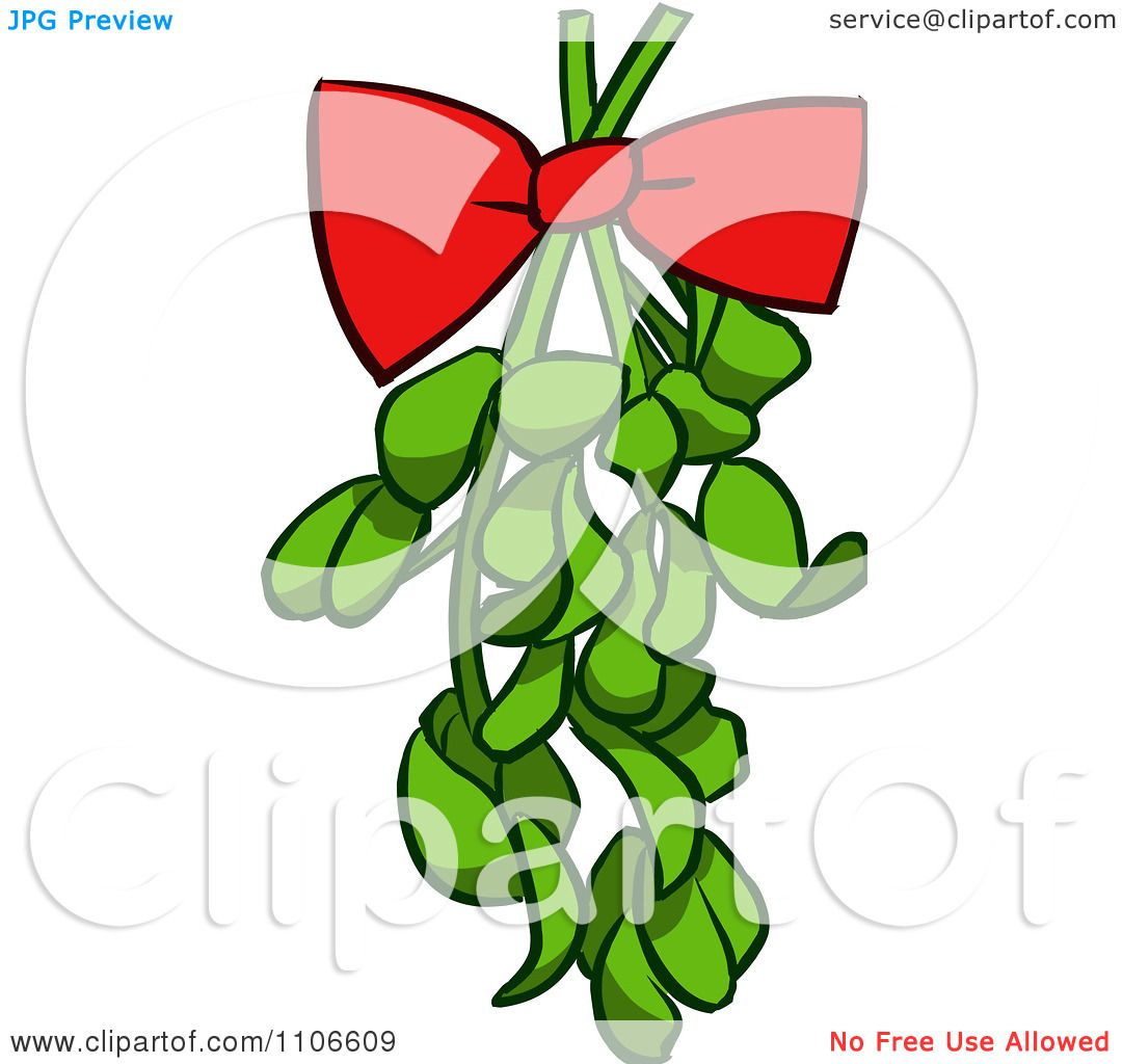 1080x1024 Clipart Red Bow On Christmas Mistletoe