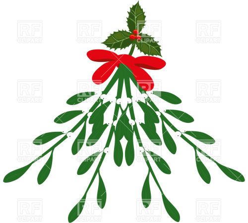 500x450 Mistletoe Branch With Red Ribbon Royalty Free Vector Clip Art