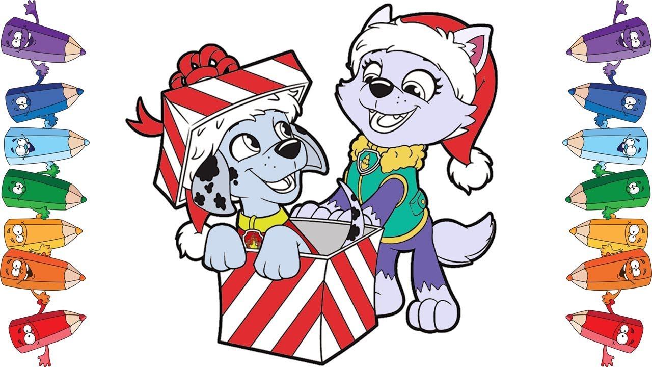 1280x720 Coloring Page Paw Patrol Christmas Holiday Learn Colors For Kids