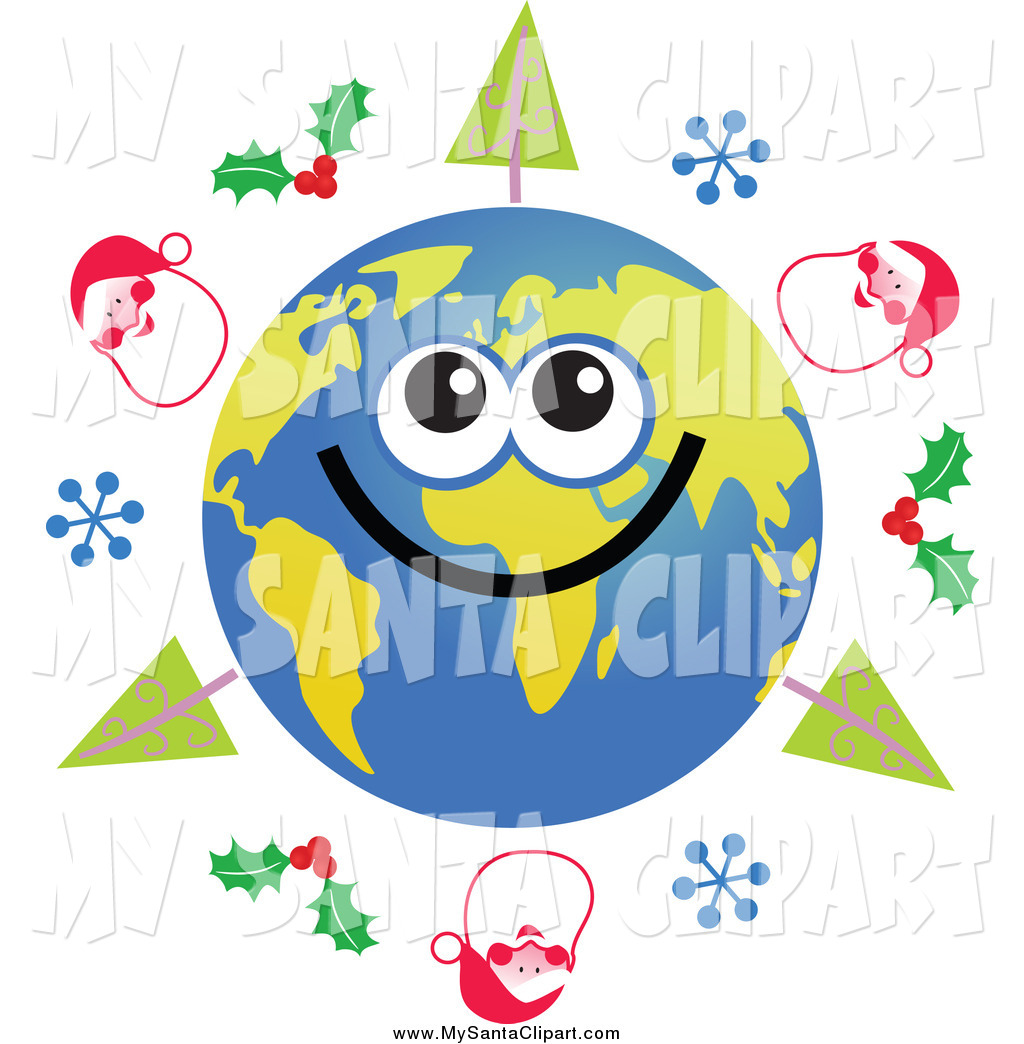 1024x1044 Christmas Clip Art Of A Happy Earth Character With Christmas