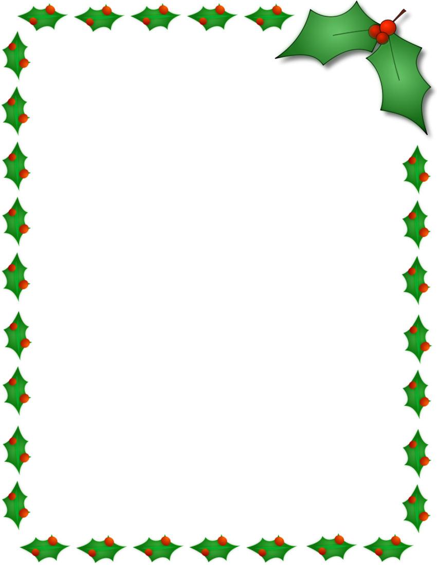 850x1100 Santa Borders For Microsoft Word