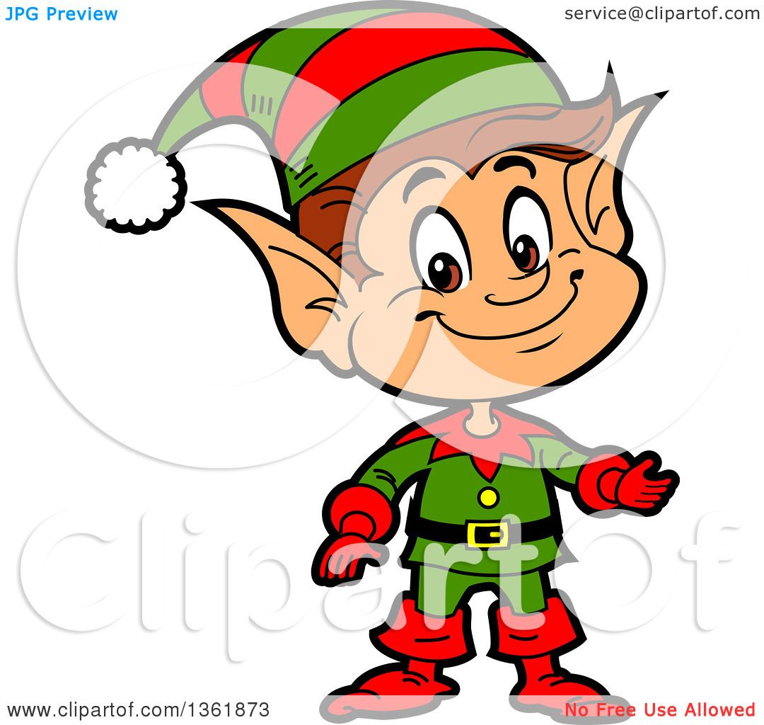 1080x1024 Clipart Of A Cartoon Presenting Happy Male Chistmas Elf
