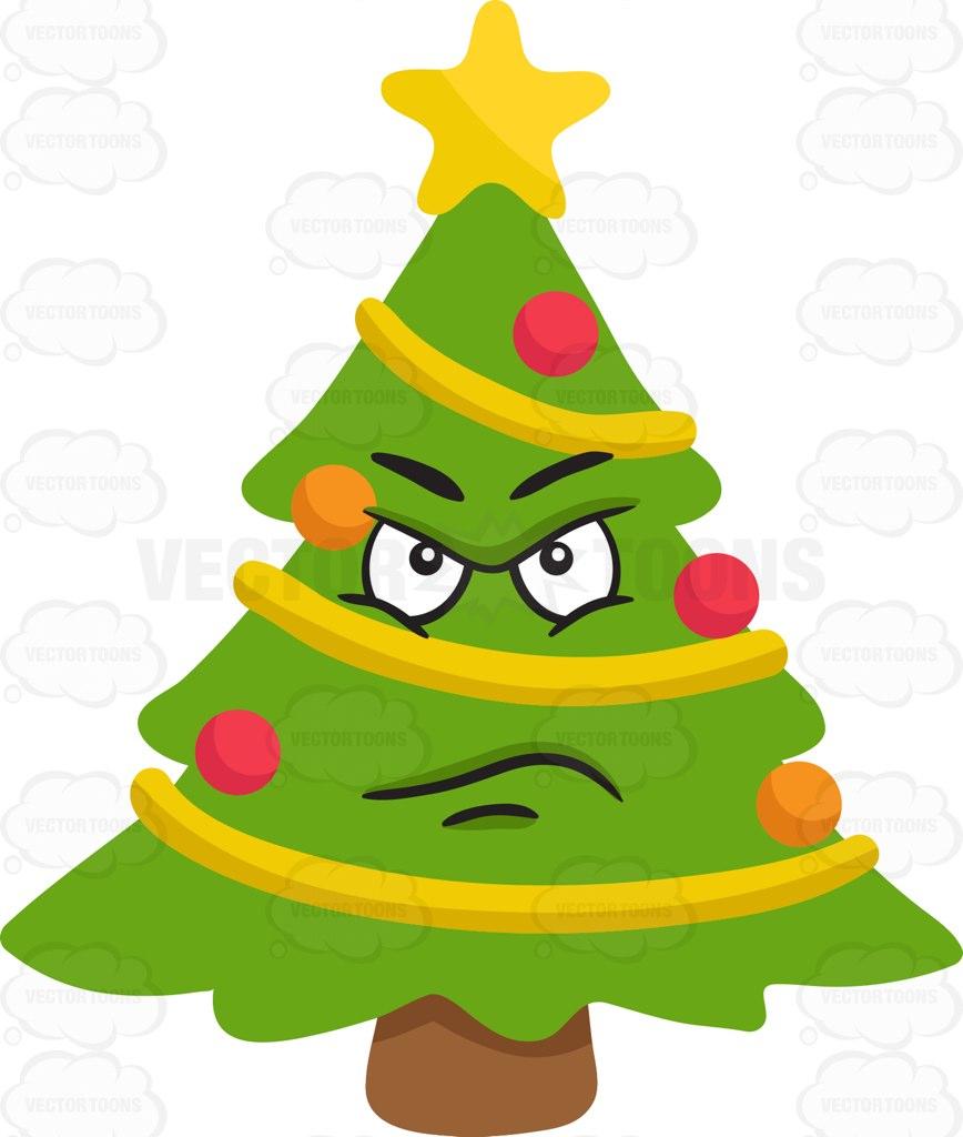 868x1024 A Mad Christmas Tree Cartoon Clipart Vector Toons