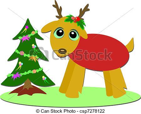 450x364 Christmas Deer And Mini Tree. Here Is A Holiday Christmas