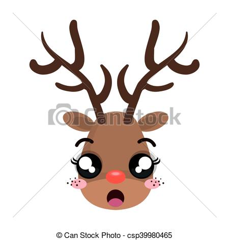 450x470 Christmas Deer Cartoon With Red Nose. Rudolph Character . Clip