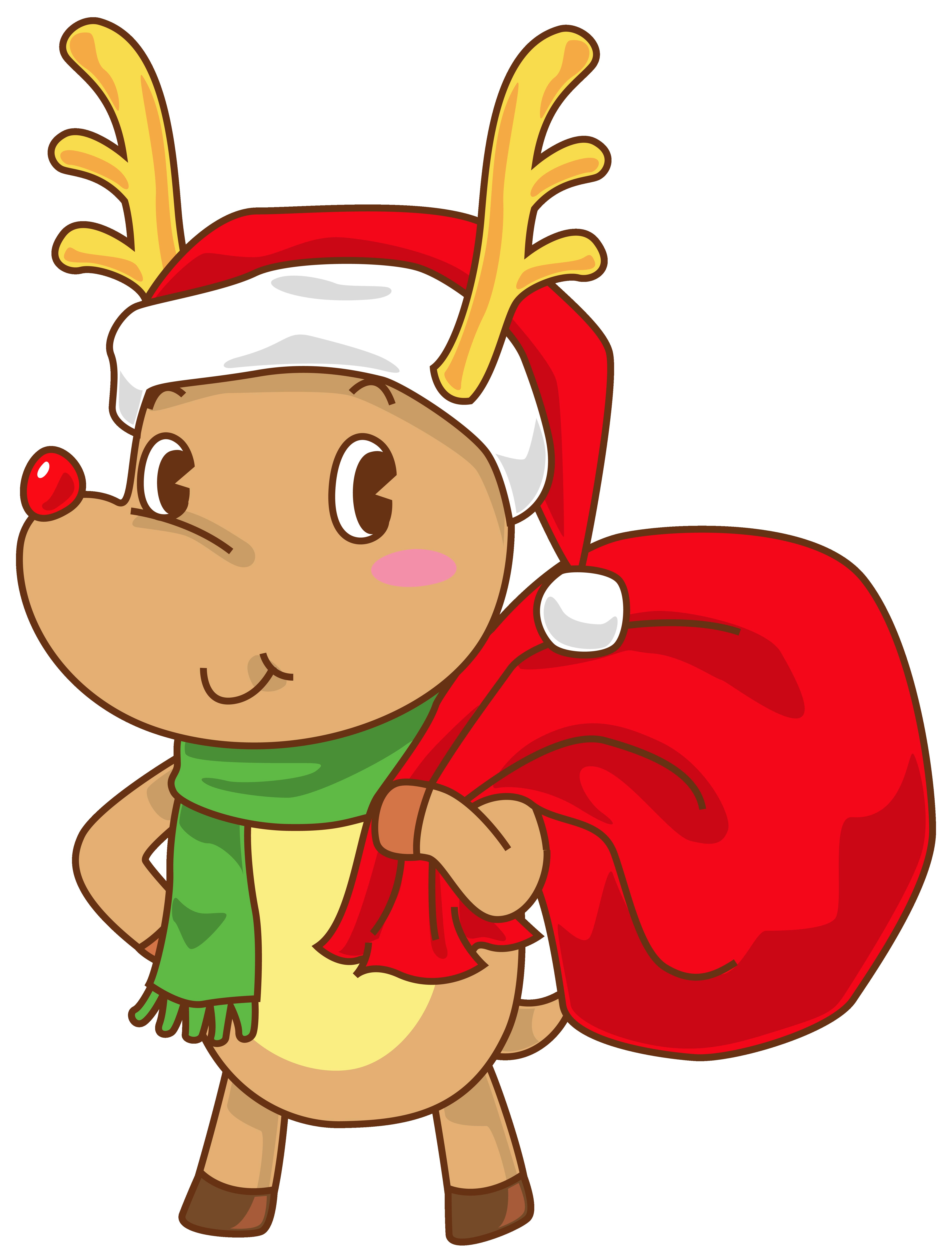 5474x7183 Christmas Rudolph With Santa Hat Transparent Clip Art Image