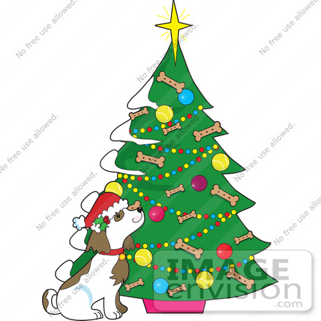 450x450 Clip Art Graphic Of A Dog By A Christmas Tree With Doggy Biscuits