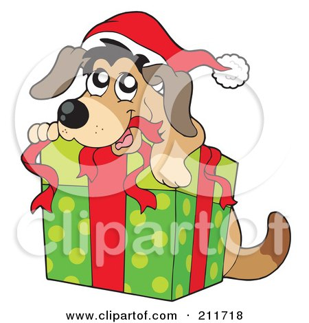 450x470 Royalty Free (Rf) Clipart Illustration Of A Christmas Dog Opening