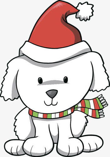 350x500 Cartoon Christmas Hat Painting With White Dog, Cartoon, Painting